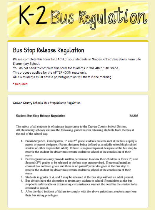 K-2 Bus Stop Release Regulation Form