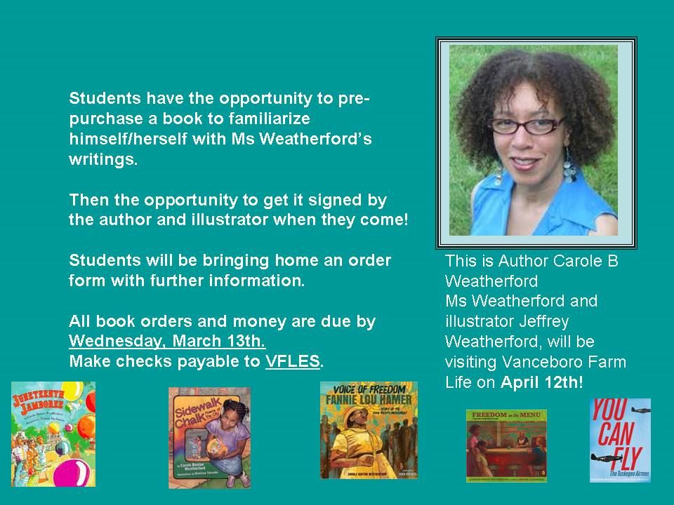 Author Carole Weatherford is coming to VFL