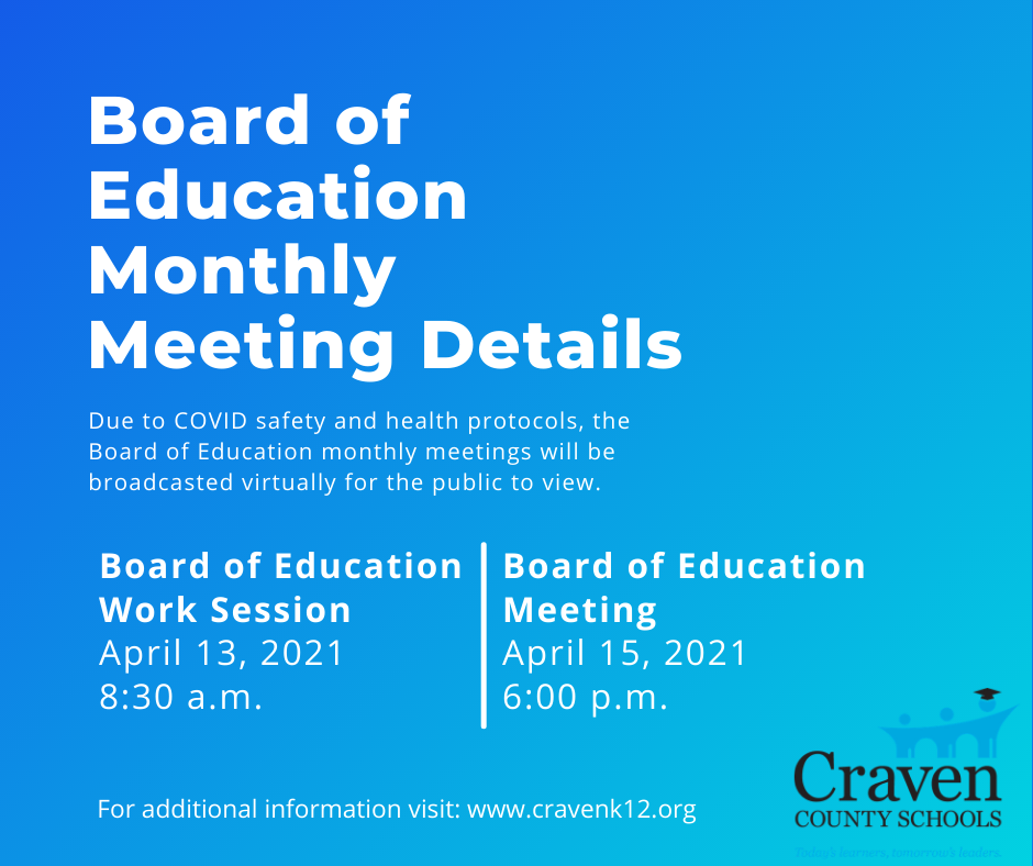 Information to Join the April 13, 2021 Board Work Session & April 15, 2021 Board Meeting