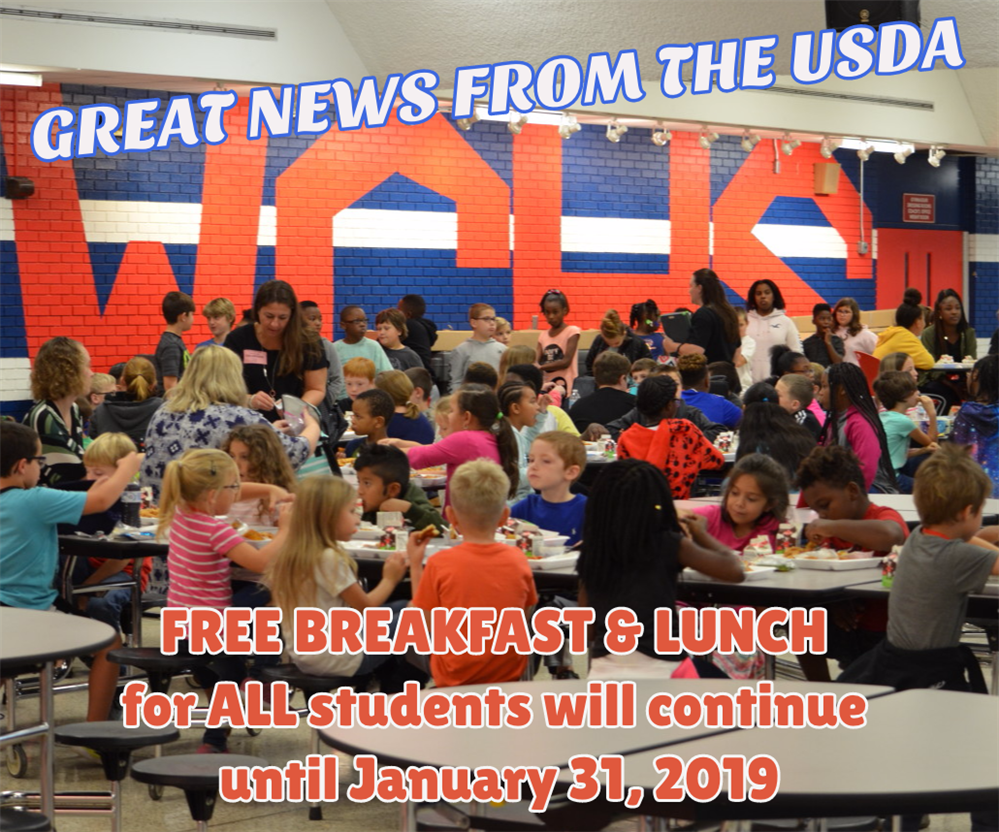 Student Smiles  Free Meals for all until 1/31/19