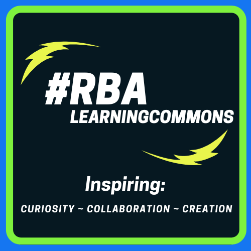 03f3c1807a3 Hashtag RBA Learning Commons navy blue background tag line- inspiring   curiosity