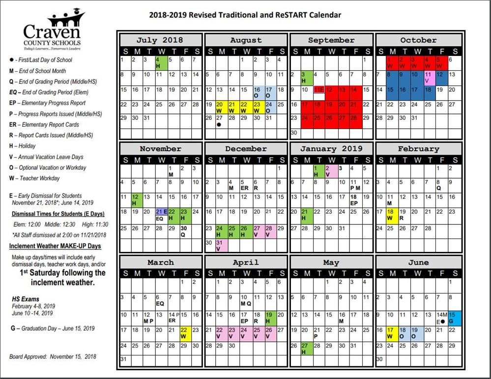 Click here to view the revised calendar for 2018-2019.